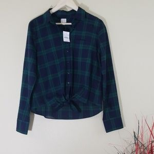 NWT J. Crew Factory Blue Plaid Tie-Waist Shirts